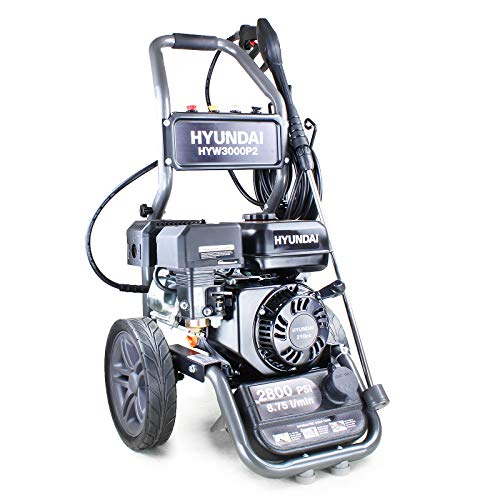 Hyundai Powerful Petrol Pressure Washer, Power Washer, 3 Year Hyundai Warranty, 2800psi, 210cc Petrol Jet Washer, Detergent Tank, 4X Quick Release Nozzles, High Pressure, HYW3000P2, Black