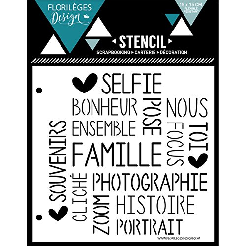 Florilèges Design fds11603Stencil Selfie Felicità plastica Bianco 15x 0, 1cm