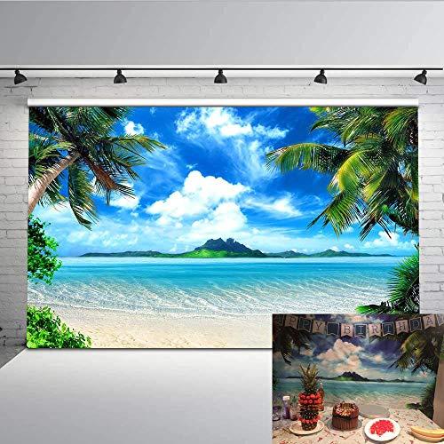 Mehofoto escena de la playa tropical Foto Telón de fondo 7x5ft mar palmera cielo azul telones de fondo sin fisuras boda fiesta fotografía fondo
