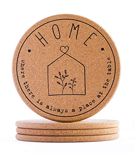 Cork Trivet Hot Pads for Kitchen Counter - Home Design | Set of 4 | 7.3 inches | Holder for Hot Dishes