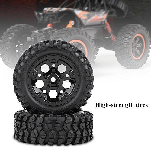 Dilwe 2 RC Reifen, RC Auto Reifen mit Rad für HG P402 / P601 1:10 RC Auto / Crawler / Jeep