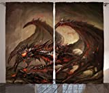 Ambesonne Dragon Curtains, Majestic Molten Demonic Armored Dragon on Inferno Rocks Hot Hell Dirty Print, Living Room Bedroom Window Drapes 2 Panel Set, 108' X 90', Brown Red