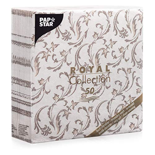 "Papstar, 50 Servietten ""ROYAL Collection\"" 1/4-Falz 40 cm x 40 cm braun \""Damascato\"", #85004"