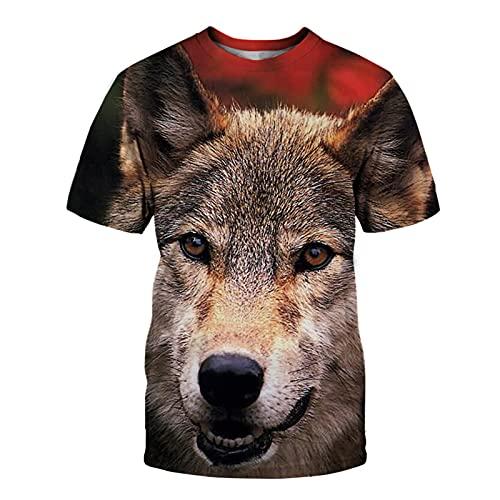 SSBZYES Camiseta De Verano Camiseta De Manga Corta para Hombre Camiseta De Gran Tamaño Camiseta con Estampado De Lobo En La Parte Superior De Los Hombres Camiseta Holgada con Cuello Redondo Camiseta