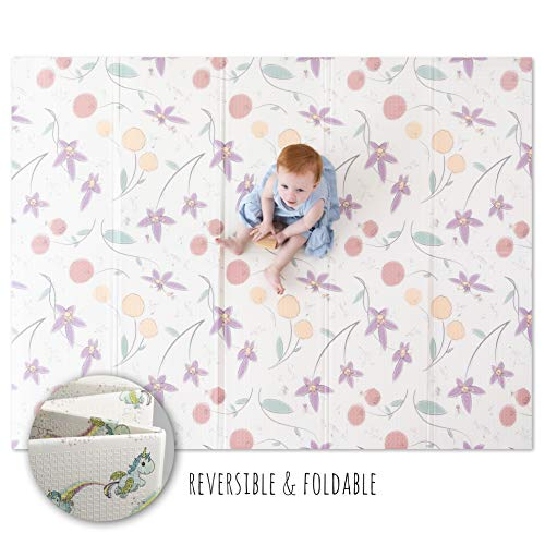 """JumpOff Jo – Large Waterproof Foam Padded Play Mat for Infants, Babies, Toddlers, 8+ Months – for Play & Tummy Time – 76 in. x 58 in. – Double-Sided Design: """"Magical Friends"""" Fairy Blossoms"""