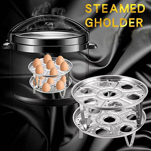 Egg Steamer Rack for Instant Pot,Dreammax 2 Pack Stackable Steamer Rack Trivet Plate with Egg Clip,Fits 5/6/8qt Instant Pot/Pressure Cookers Accessories of Kitchen(3pcs)