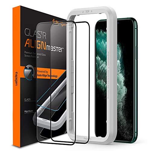 Spigen Tempered Glass Screen Protector [Glas.tR AlignMaster] designed for iPhone 11 Pro Max (2019) [2 Pack] - Edge to Edge Protection
