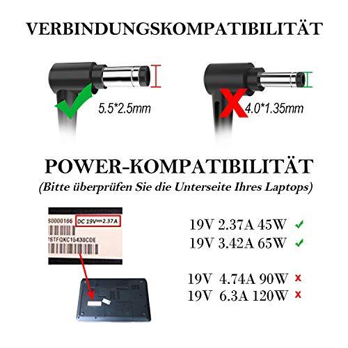 Laptop Netzteil tragbare Ladegerät Ladekabel,19V 3,42A 65W für Asus R556 R556L R556LA X751 X751M X751L X751LX X751LAV X751S X751NA X751N F555 F555L F555LA F555UA F551C F551 X551 X551M X551MA X551C