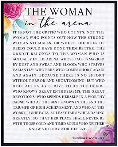 Man Woman In the Arena Positive Quote Wall Art Poster 8x10 Motivational Inspirational Teddy product image