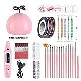 ZHUOTOP Set de uñas para Kit de manicura Lámpara LED UV con máquina de Taladro eléctrico Gel de uñas Barniz de uñas Pedicura Rosado