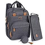 Diaper Bag Backpack with Portable Changing Pad, Pacifier Case and Stroller Straps, Dikaslon Large Unisex Baby Bags for Boys Girls, Multipurpose Travel Back Pack for Moms Dads, Dark Gary