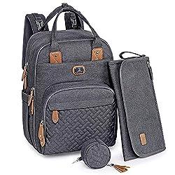 Wickeltasche Rucksack - Dikaslon Großer Wickelrucksack mit Multifunktions-Babytaschen und mobiler Wickelauflage - Schnullerhalter und Kinderwagengurte - für Mama und Papa (dunkelgrau)