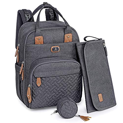 Changing Bag Backpack, Dikaslon Large Nappy Back Pack Multifunction Baby Bags with Portable Changing Mat, Pacifier Holder, and Stroller Straps, for Mom and Dad (Dark Grey)