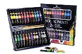 Juego de pintura acrílica WINSONS, no tóxica 24 colores (24 x 12ml,0.4 Oz) Pigmentos estupendos para niños principiantes, pintores, niños, estudiantes de escuelas y clases de arte esenciales