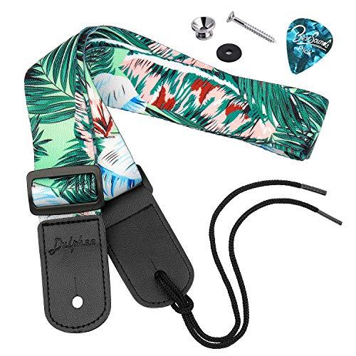 Dulphee Ukulele Strap Hawaiian Style Adjustable Uke Shoulder Strap for Soprano Concert Tenor Baritone Ukulele, Mandolin and Banjo (Palm)