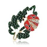 Broche de aleación Rhinestone Cute Leaf Mariquita Forma Broches Novedad Pin Insignia Accesorios de joyería para solapa Bufanda Tie Hat Bag (verde)