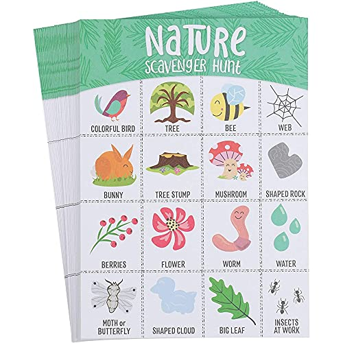 Card Scavenger Hunt for Kids, Nature Themed Outdoor Game (5x7 In, 50 Pack)