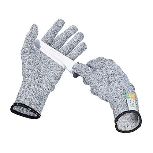 Relaxdays Schnittschutz Handschuhe Level 5 Schutz, lebensmittelecht, EN 388 Schutzhandschuhe Größe S, grau