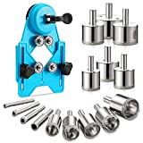 Hole Saw Set,16cs Diamond Drill Bits with Hole Saw Guide Jig Fixture, Adjustable Hole Saw Centering Locator Suction Holder for Glass,Ceramics,Tile 1/1.2/1.6/2/2.4/2.8/3.15 inch Coated Core Drill Bits