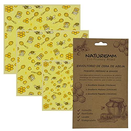 Envoltorio Cera de Abeja (Pack de 3, 20-36cm)   Papel Encerado Para Alimentos Sin Plástico   Bee Wrap Zero Waste , Biodegradable y Sostenible. Mantiene Alimentos Frescos Sin Plástico.