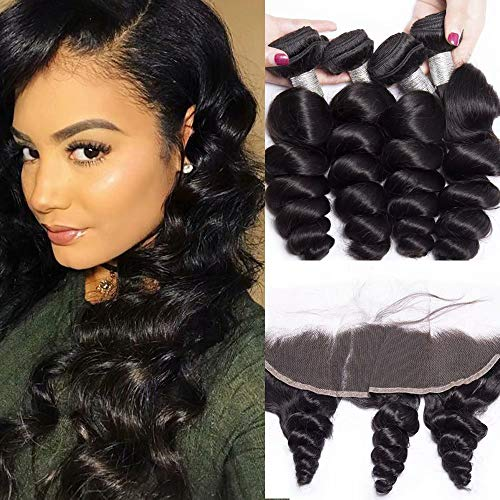 Maxine Hair Peruvian Loose Wave 3 Bundles with Lace Frontal 13x4 Ear to Ear Closure Free Part Unprocessed 10A Virgin Human Hair Extensions(16 18 20 with 14 frontal, Natural Black)