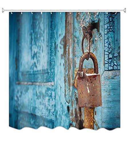 A.Monamour Blaues Holz Rustikales Schloss Beunruhigtes Land Garagentor Kunstdruck Polyester Textilgewebe Duschvorhang Set Kein Stab Enthalten 150X180 cm / 60