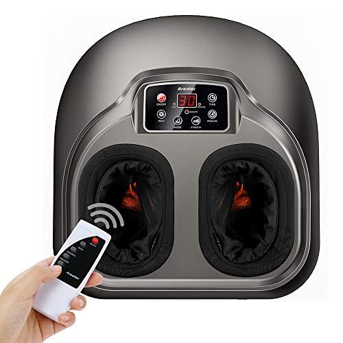 Fuß Massagegerät Arealer, elektrisch Fussmassage mit Luftkompression/Heizen, 5 Shiatsu/Kneten Modi für Füße, mit Fernbedienung/LCD Anzeige, für Zuhause/Büro