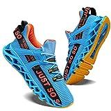 COKAFIL Mens Running Shoes Athletic Walking Blade Tennis Shoes Fashion Sneakers,Blue&Orange, 11