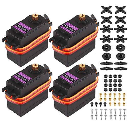 Innovateking-EU 4 Stücke MG996R Micro Servo Motor Metal Gear Digital Servomotor Drehmoment für Smart Car Robot Boot RC Hubschrauber
