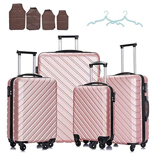 18-28inch 4 piece Hardshell luggage sets with spinner wheels ABS Lightweight Suitcases for Family (Rose Gold)