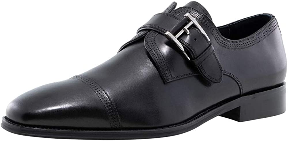 Jump Newyork Men's Mcneil Fashionable | Light Weight | Leather Upper | Narrow Cap Toe | Single Monk Strap | Formal Shoes | Oxford Shoes | Dress Shoes for Men