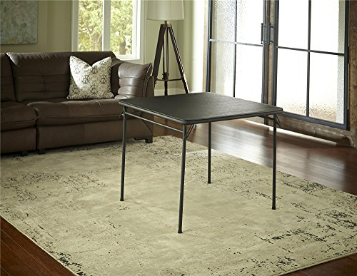 Cosco Square Vinyl Top Folding Dining or Card Table, 1-Pack, Black