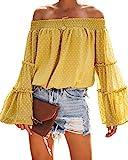 OMKAGI Blusa de Gasa con Hombros Descubiertos y Volantes para Mujer, Camisa Casual con Lunares - - Small=34-36