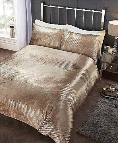 Rapport Crushed Velvet Sequin Duvet Cover Bed Set, Polycotton, Gold, Single