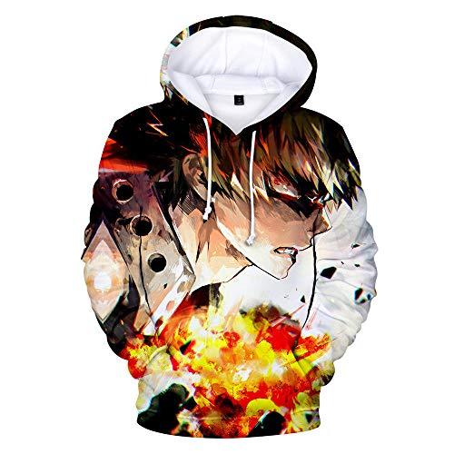 GAMESBD Sudadera con Capucha Unisex My Hero Academia Anime Hombres Suéter Tipo Jersey Hombres Sudadera con Capucha 3D Cómodo Tops Mezcla De Colores XXS