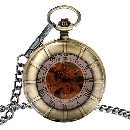 El nuevo reloj de bolsillo de cristal de moda doble cazador completo con números romanos Dial diseño esqueleto mecánico para hombres mujeres regalo