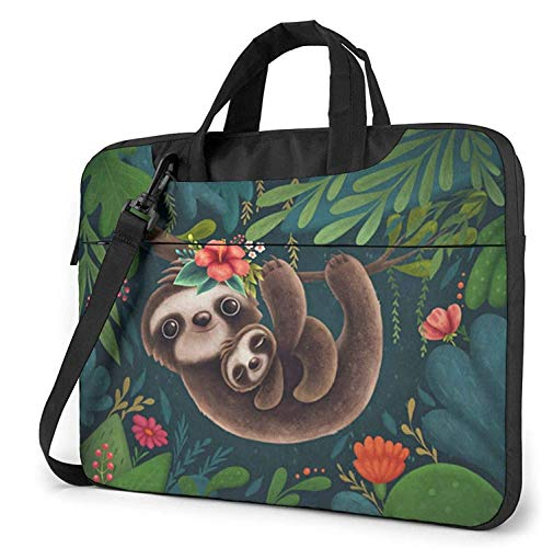 Sleeping Sloth Laptop Shoulder Case Sleeve, 15.6 Inch Multi-Functional Notebook Sleeve Carrying Case with Strap & Trolley Belt for Lenovo Acer Dell Lenovo Hp Samsung Ultrabook Chromebook