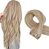 Sunny Human Hair Weft 22inch Blonde Weave Hair Extensions Human Hair Ash Blonde Highlight Bleach Blonde Real Hair Bundles Sew in One Bundle 100g