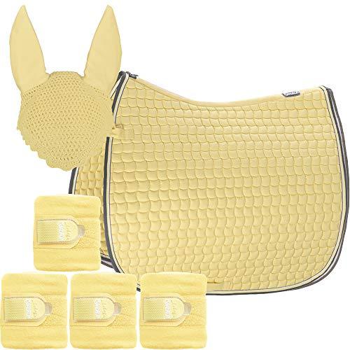 Eskadron Set Basic Cotton Schabracke mit Fliegenohren & Bandagen in Banana, Größe:Pony Dressur (PD)