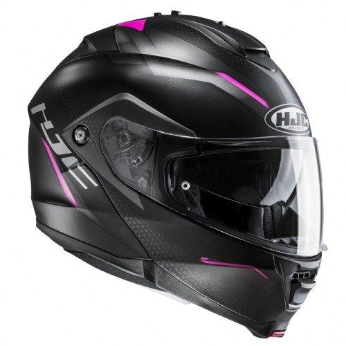 HJC Helmets 2379_26918 Casco de Moto-HJC IS MAX II DOVA MC8SF-L, Hombre, Negro/Rosa, Large