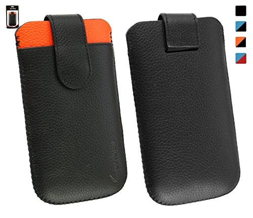 Emartbuy® Echtes Kalbsleder Schwarz/Orange Slide in Hülle Tasche Sleeve(Größe 3XL) mit Kreditkarte Schlitz und Zuglasche Mechanismus Geeignet Für Slok D1 Dual SIM Smartphone