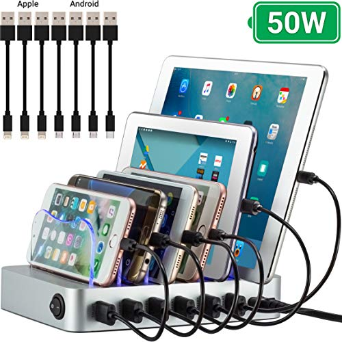 Multi Device Charging Station MSTJRY USB Charging Dock Switch Cell Phone 5 Port Charging Station Multiple Devices Black, 5 Short Cables Included