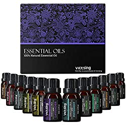 ♥ Pure and Natural ♥ VicTsing essential oils set is natural. VicTsing is unswervingly devoted to the highest quality products. ♥ Perfect Essential Oils Kit ♥ VicTsing essential oils set contains 10ml * 12 following fragrances: lavender, lemongrass, t...