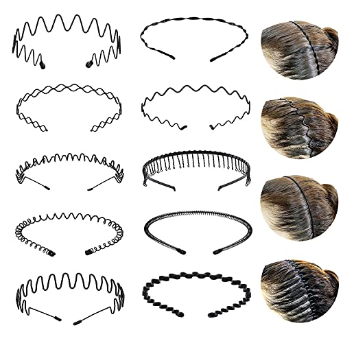 Metall Haarband für Damen und Herren, 10 Stück ,Schwarz Welle Haarreifen Damen, Rutschfestes Elastisches Haarreifen Männer, Mehrere Stile, Geeignet für Sport, Fitness, tägliches Make-up