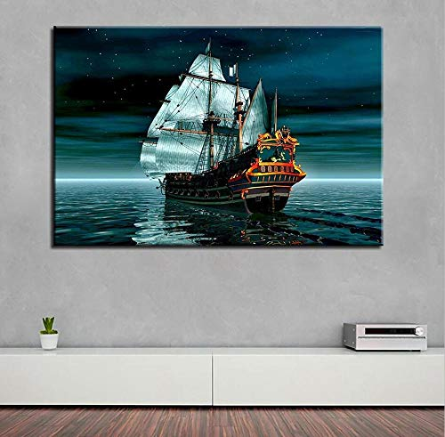 Kunstwerk poster HD print woondecoratie navigatie boot wall art zee landschap restaurant canvas 60x80 cm (frameloze)