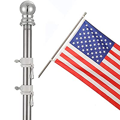 """COCOHOME 5FT Flag Pole - 1"""" Professional Tangle-Free Spinning Flagpole for 3x5 US Flag Outdoor House Wall Truck. (Only Pole"""