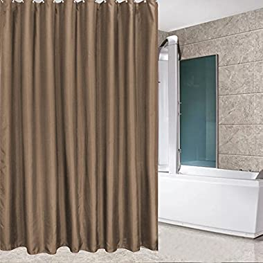 Eforcurtain Home Fashion Water Repellent Shower Curtain Brown Polyester Fabric for Men, Mildew Free Bathroom Curtain with Rust Proof Metal Grommets, Standard Size 72 x 72 Inch