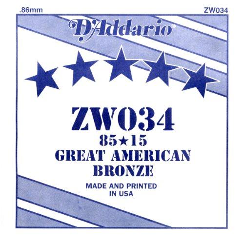 D'Addario ZW034 Bronze-Einzelsaite für Gitarre 0,086 cm (0,034 Zoll)