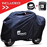 Motorcycle Cover For Moped Scooter - Waterproof Outdoor Bike Storage With Bonus Lock Heavy Duty Tarp Material Bicycle Covers UV Rain Dust Protection Dirt Bike 50cc Accessories