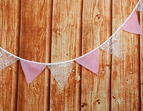 Succulent Style Hessian & Lace Fabric Bunting for Wedding Birthday or Party Decorations (Pink & Lace)